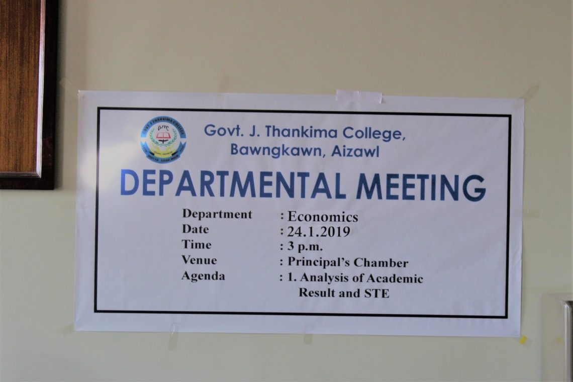GJTC 8th July, 2019 : Organised Departmental Meetings