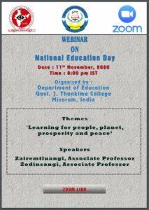 Webinar on National Education Day, 11th Nov, 2020 : GJTC 11th November, 2020
