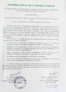 GJTC 26th March, 2021 : MoU was Signed with Medhavi Foundation Aizawl 1