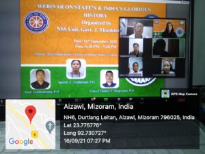 17th Sept, 2021 : Webinar on State's and India's Glorious History