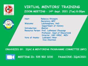 GJTC 17th Sept, 2021 : Virtual Mentors Training
