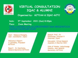 GJTC 8th Sept, 2021 : Virtual Consultation - IQAC and Alumni 2